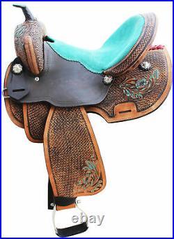 Western Premium Leather Pony Miniature Children Horse Saddle, Size 8 inch Seat