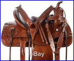 Western Saddle 17 Pleasure Show Horse Trail Tooled Leather Tack Set Barrel