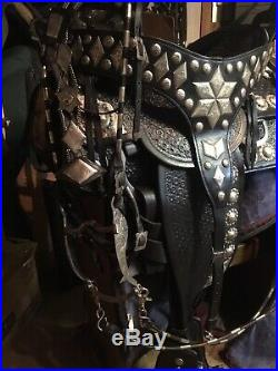 Western Saddle Sterling Silver Bit Buckle Star Concho Stirrup Breast Collar