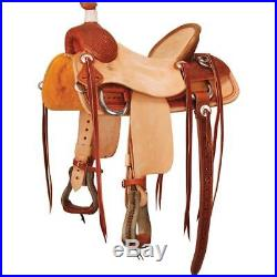 Western Tan & Natural Leather Hand Tooled Roping Ranch Saddle with Strings 17