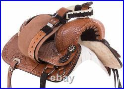 Youth Kids Used Western Horse Saddle Premium Leather Trail Barrel Tack Set 12